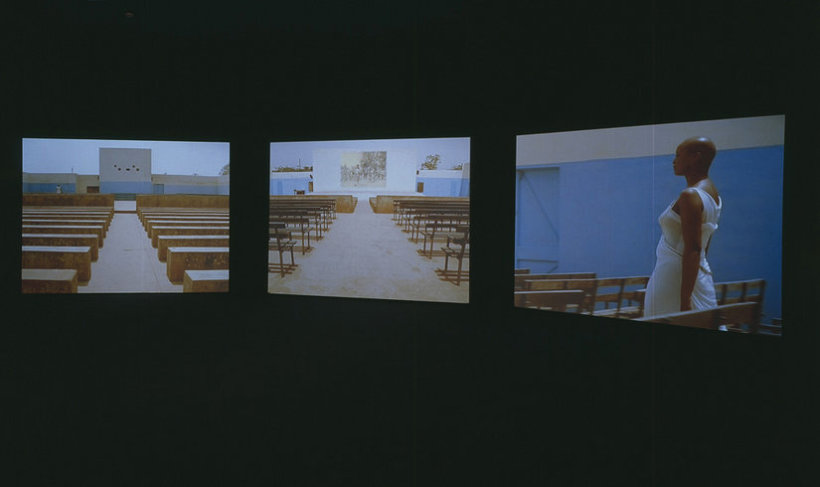 <p>Isaac Julien, Fantôme Afrique, 2005<br /><i>Triple screen projection, 16mm colour film, DVD transfer with sound, Duration 17 min</i></p>