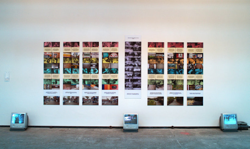 <p>From My Mind To Your Mind, Installation view, September 2006<br /><em>Eight panel work with DVD video films, audio tapes and printed guide. Photographic prints, laser prints, photographic dye, acrylic paint, ink on card.</em></p>