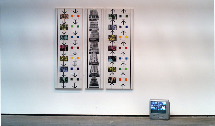 """<p>Three Time Lines for Promenading, 2006 (Installation View)<br /><em>DVD film, photographic prints, photographic dye, acrylic paint, ink. Letraset on card. Framed with Perspex. Three panels, e<span style=""""line-height: 1.5em;"""">ach 155 x 52 cm</span></em></p>"""
