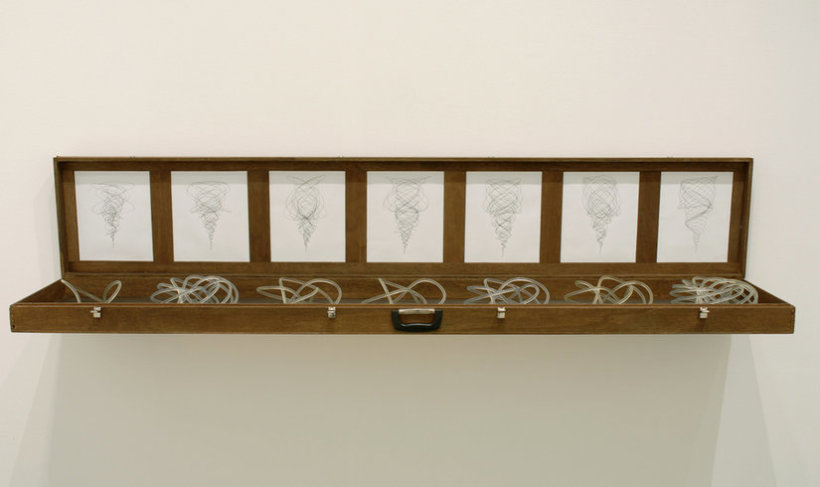 <p>The Symbolic, The Imaginary, The Real, 2006<br /><em>Renewable oak, ink on paper, resin, 210.8 x 31.8 x 36.8 cm83 x 12.5 x 14.5 in</em></p>