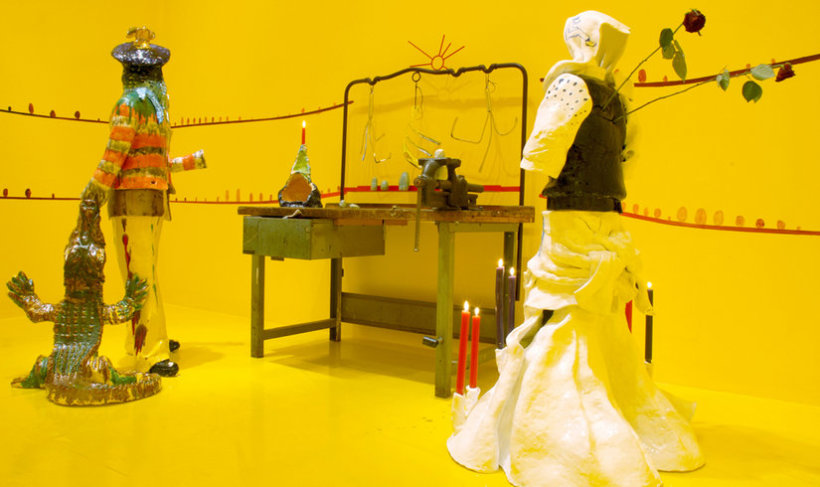 <p>Mr and Mrs Smith at Work, 2006<br /><em>Acrylic on canvas, mixed media objects, Dimensions variable</em></p>