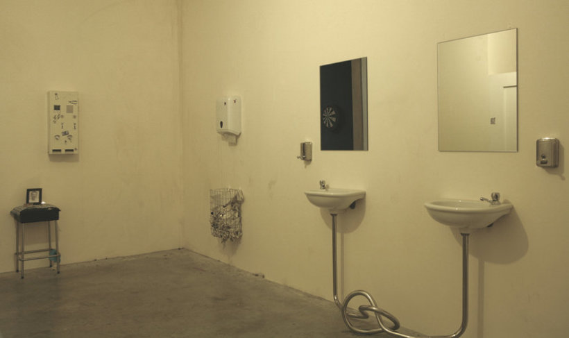 <p>Second Marriage, 2008 (Installation view)<br /><i>Metal knot, sink, mirror, 181 x 200 x 40 cm 71.3 x 78.7 x 15.7 in</i></p>