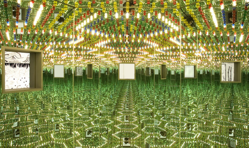 <p>Infinity Mirrored Room - Love Forever, 1994 <br />Mirror, metal, light bulbs, wood, 210 x 240 x 205 cm</p>