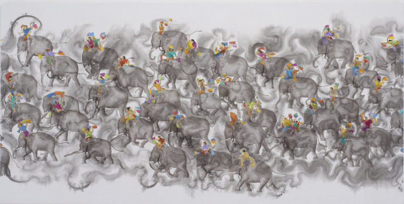 <p>In musth, 2009<br /><em>Acrylic on linen, 182.9 x 365.8 cm 72 x 144 in</em></p>