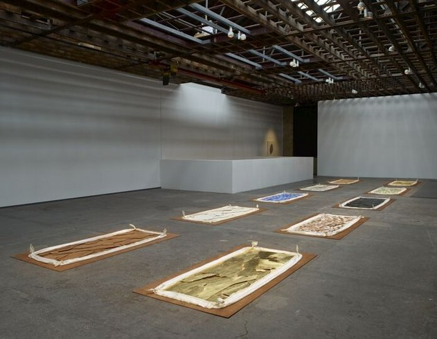 "<p>Either Side of the Path of Enlightenment, 2009<br /><em>Oil on plywood, silk, plywood, <span style=""line-height: 1.5em;"">Installation comprised of ten parts, each</span><span style=""line-height: 1.5em;""> 243.8 x 121.9 cm </span><span style=""line-height: 1.5em;"">96 x 48 in</span></em></p>"