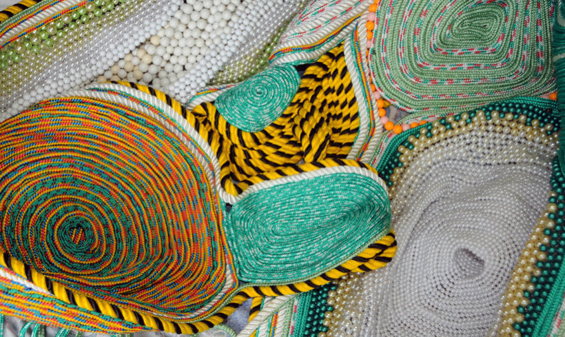 <p>Untitled, 2010 (Detail)<br /><em>Sewn ropes and beads, 440 x 170 x 1230 cm 173.2 x 66.9 x 484.3 in</em></p>