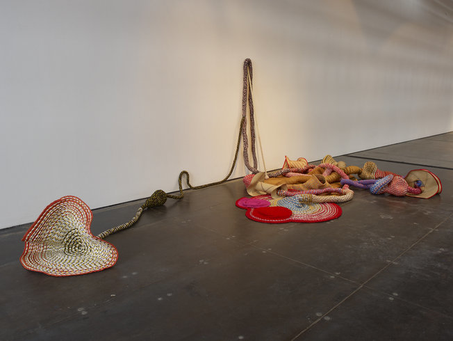 <p>Untitled, 2008<br /><em>Sewn rope, wood, straw and beads, 490 x 245 x 170 cm 192.9 x 96.5 x 66.9 in</em></p>