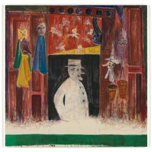 "<p>Tal R, Souvenir shop, 2010<br /><em>Hasenleim, pigment and wax crayon on canvas, <span style=""line-height: 1.5em;"">200 x 200 x 4.5 cm </span><span style=""line-height: 1.5em;"">78 3/4 x 78 3/4 x 1 3/4 in</span></em></p>"