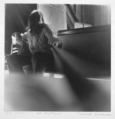 "<p>Self-portrait at 13, Boulder, Colorado, 1972<br /><em>Gelatin silver estate print,<span style=""line-height: 1.5em;"">20.3 x 25.4 cm</span><span style=""line-height: 1.5em;"">8 x 10 in</span></em><br /><em>© The Estate of Francesca Woodman, Courtesy George and Betty Woodman and Victoria Miro Gallery</em><br /><em><br /></em></p>"