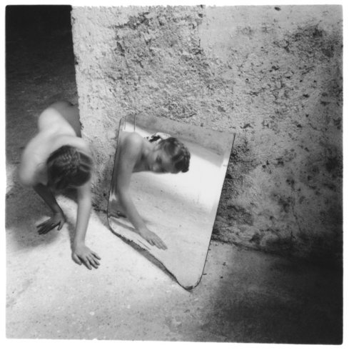 "<p>Self-deceit #1, Rome, Italy, 1978<br /> <em>Gelatin silver estate print,<span style=""line-height: 1.5em;"">20.3 x 25.4 cm,</span><span style=""line-height: 1.5em;"">8 x 10 in</span></em><br /><em>© The Estate of Francesca Woodman, Courtesy George and Betty Woodman and Victoria Miro Gallery</em><br /><em><br /></em></p>"
