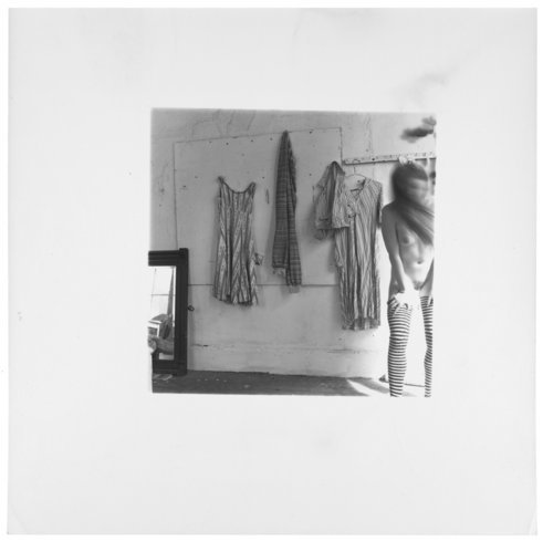 """<p>Another almost square fashion photograph, Providence, Rhode Island, 1975-1978<br /><em>Gelatin silver estate print,<span style=""""line-height: 1.5em;"""">20.3 x 25.4 cm</span><span style=""""line-height: 1.5em;"""">8 x 10 in</span></em><br /> <em>© The Estate of Francesca Woodman, Courtesy George and Betty Woodman and Victoria Miro Gallery</em><br /><em><br /></em></p>"""