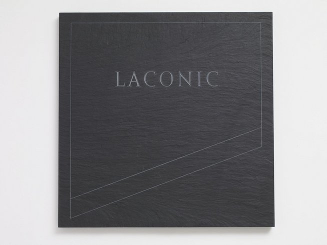 <p>Laconic,1990<br /> <em>Black slate blade, 91.5 x 91.5 x 4 cm 36 1/8 x 36 1/8 x 1 5/8 in</em></p>