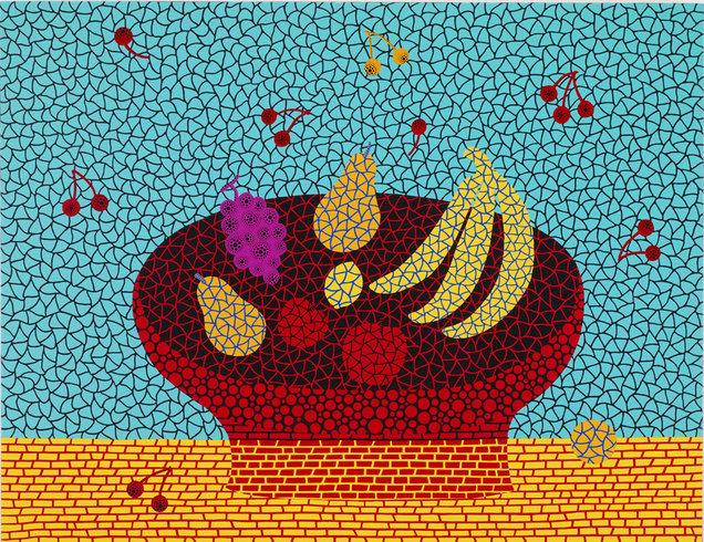 """<p>Fruits EPSOB, 2011<br /><em>Acrylic on canvas,<span style=""""line-height: 1.5em;"""">145.5 x 112 x 6 cm</span><span style=""""line-height: 1.5em;"""">57 1/4 x 44 x 2 3/8 in</span></em></p>"""