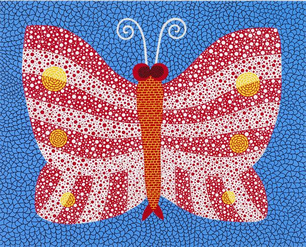 "<p>A Butterfly ACHNO, 2011<br /><em>Acrylic on canvas,<span style=""line-height: 1.5em;"">145.5 x 112 x 6 cm</span><span style=""line-height: 1.5em;"">57 1/4 x 44 x 2 3/8 in</span></em></p>"