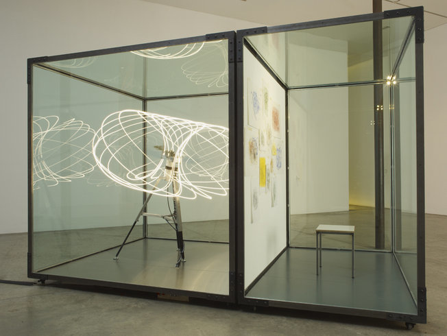 <p>The Blind Aesthetic, 2011<br /><em>Glass, steel, mechanical system, light, 250 x 220 x 230 cm 98 3/8 x 86 5/8 x 90 1/2 in</em><br /><br /></p><p> </p>