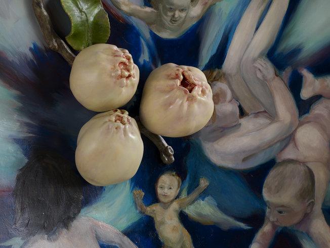 """<p>Crianças e marmelos, 2011 (Detail)<br /><em>Oil on fiberglass and resin,<span style=""""line-height: 1.5em;"""">150 x 25 cm</span><span style=""""line-height: 1.5em;"""">59 1/8 x 9 7/8 in</span></em></p>"""