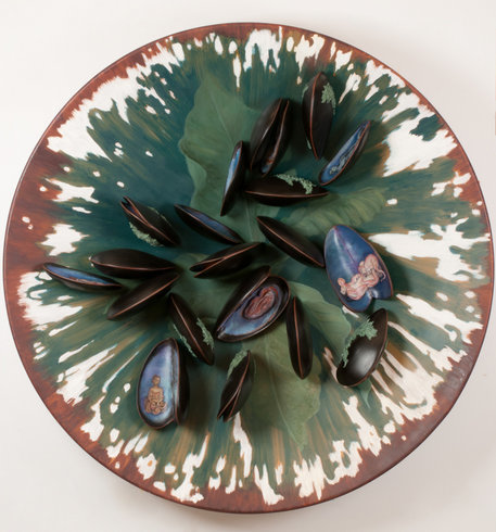 """<p>Plate with Clams, 2011<br /><em>Oil on fiberglass and resin,<span style=""""line-height: 1.5em;"""">150 x 25 cm </span><span style=""""line-height: 1.5em;"""">59 1/8 x 9 7/8 in</span></em></p>"""