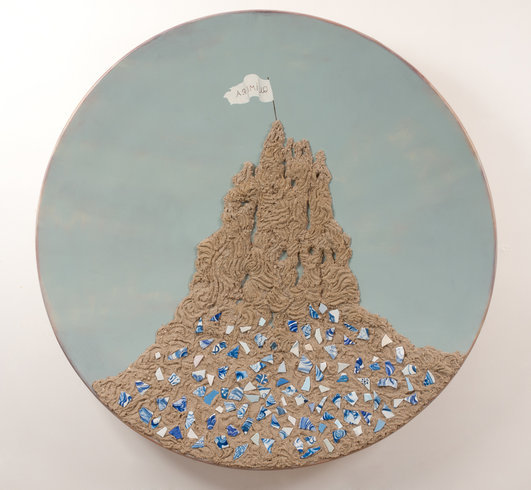 "<p>Sand Castle, 2011<br /><em>Oil on fiberglass and resin, <span style=""line-height: 1.5em;"">150 x 25 cm </span><span style=""line-height: 1.5em;"">59 1/8 x 9 7/8 in </span></em></p>"