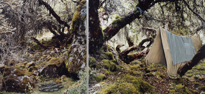 <p>I'm tired of travelling, 2011<br /><em>Constructed mixed media on C-type photograph, Diptych, left panel 90 x 81.4 cm, right panel 90 x 110 cm</em></p>