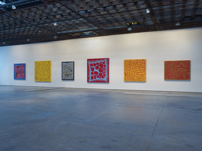 "<p><span style=""line-height: 1.5em;"">Installation View, Yayoi Kusama</span><span style=""line-height: 1.5em;"">, <em>New Works</em>, Gallery I, Victoria Miro, 16 Wharf Road London N1 7RW, 2012</span></p>"
