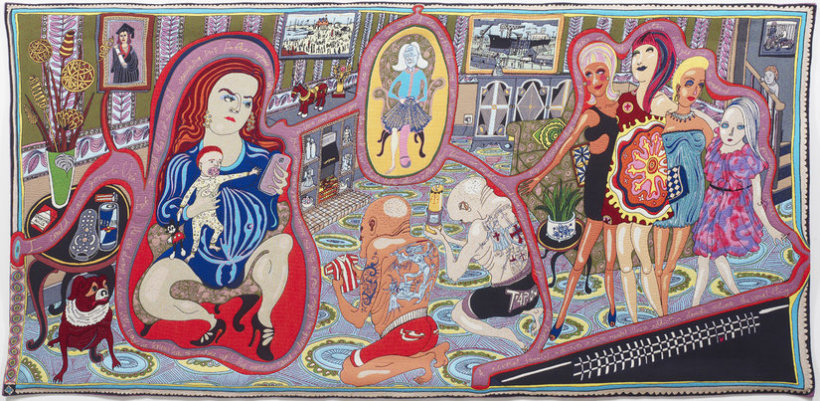 "<p>The Adoration of the Cage Fighters, 2012<br /><em>Wool, cotton, acrylic, polyester and silk tapestry, <span style=""line-height: 1.5em;"">200 x 400 cm </span><span style=""line-height: 1.5em;"">78 3/4 x 157 1/2 in</span></em></p>"