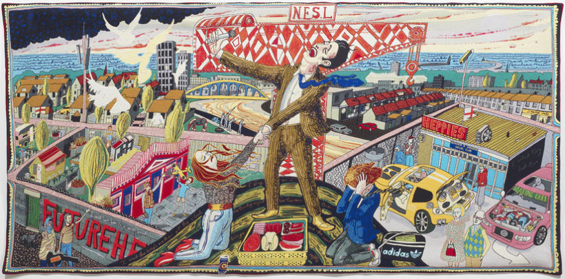 """<p>The Agony in the Car Park, 2012<br /><em>Wool, cotton, acrylic, polyester and silk tapestry,<span style=""""line-height: 1.5em;"""">200 x 400 cm</span><span style=""""line-height: 1.5em;"""">78 3/4 x 157 1/2 in</span></em></p>"""