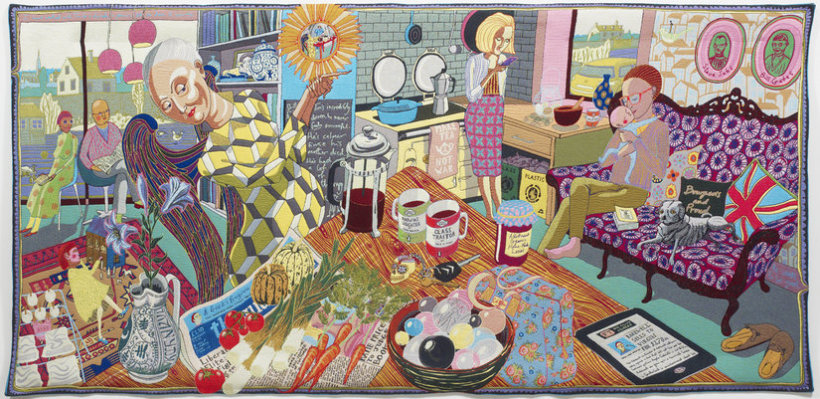 "<p>The Annunciation of the Virgin Deal, 2012<br /><em>Wool, cotton, acrylic, polyester and silk tapestry, <span style=""line-height: 1.5em;"">200 x 400 cm </span><span style=""line-height: 1.5em;"">78 3/4 x 157 1/2 in</span></em></p>"