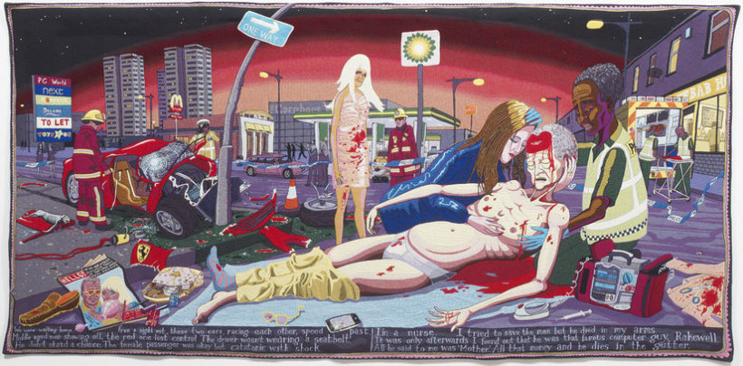"""<p>#Lamentation, 2012<br /><em>Wool, cotton, acrylic, polyester and silk tapestry,<span style=""""line-height: 1.5em;"""">200 x 400 cm</span><span style=""""line-height: 1.5em;"""">78 3/4 x 157 1/2 in</span></em></p>"""