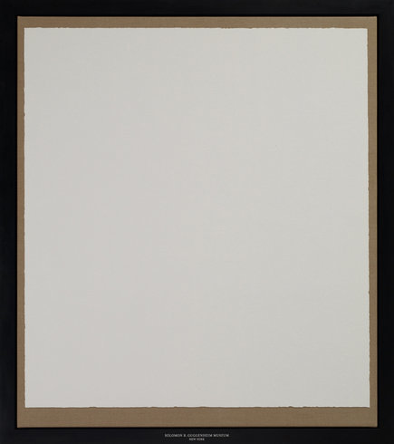 """<p>Solomon R. Guggenheim Museum, 2012<br /><em>Wall colour taken from an exhibition wall at Solomon R. Guggenheim Museum, New York mounted on a frame stringed with canvas, framed in a black waxed oak frame,<span style=""""line-height: 1.5em;"""">176 x 156 x 4 cm</span><span style=""""line-height: 1.5em;"""">69 1/4 x 61 3/8 x 1 5/8 in</span></em></p>"""