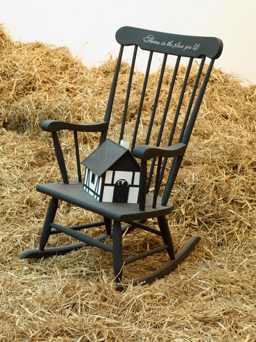 <p>Home is the Place You Left, 2012<br /><em>Wooden rocking chair, paint, mixed media, 100 x 60 x 74 cm 39 3/8 x 23 5/8 x 29 1/8 in</em></p>