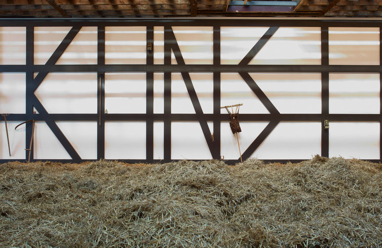 """<p>KUNST, 2012<br /><em>Painted wood and various objects including farm tools, bird's nest, hand-made iron nails, photograph, lederhosen,<span style=""""line-height: 1.5em;"""">420 x 1135 x 43.4 cm 165 3/8 x 446 7/8 x 17 in</span></em></p>"""