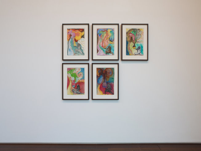 "<p><span style=""line-height: 1.5em;"">Installation View, Chris Ofili</span><span style=""line-height: 1.5em;"">, </span><i style=""line-height: 1.5em;"">to take and to give</i><span style=""line-height: 1.5em;"">, Gallery II, Victoria Miro, 16 Wharf Road London N1 7RW, 2012</span></p>"