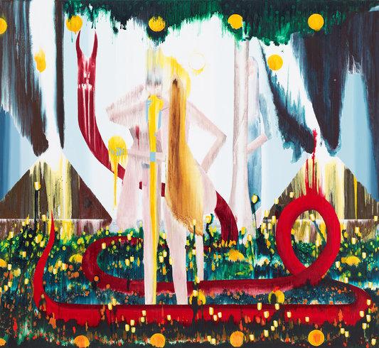 "<p>The Fruit Eaters, 2013<br /><em>Acrylic on linen,<span style=""line-height: 1.5em;"">223.5 x 243.8 cm</span><span style=""line-height: 1.5em;"">88 x 96 in</span></em></p>"
