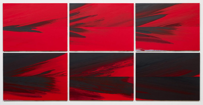 "<p>Last Day (Red to Black in 6 parts), 2013<br /><em>Acrylic on linen, <span style=""line-height: 1.5em;"">Each part: 62.9 x 84.5 cm </span><span style=""line-height: 1.5em;"">24 3/4 x 33 1/4 in</span></em></p>"