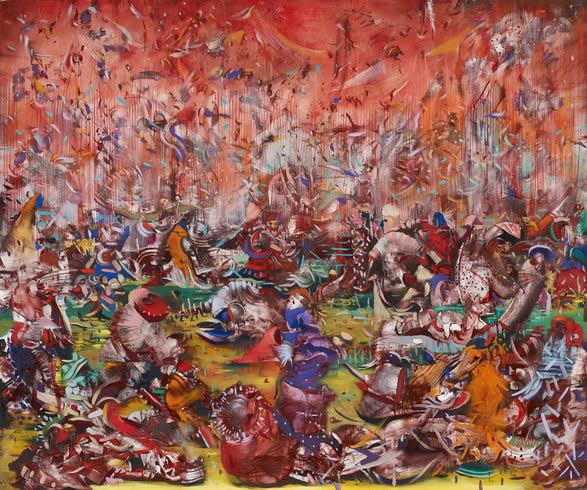 "<p>Ali Banisadr, HRH, 2013<br /><em>Oil on linen,<span style=""line-height: 1.5em;"">76.2 x 91.4 cm</span><span style=""line-height: 1.5em;"">30 x 36 in<br /></span>Courtesy the Artist and Blain | Southern © Ali Banisadr</em></p>"