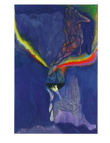"<p>Chris Ofili, Ovid-Windfall, 2011-12<br /><em>Oil and charcoal on linen, <span style=""line-height: 1.5em;"">310 x 200 x 4 cm </span><span style=""line-height: 1.5em;"">122 1/8 x 78 3/4 x 1 5/8 in</span></em></p>"