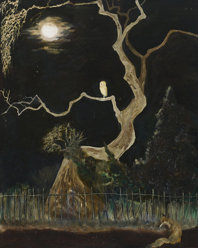 "<p>David Harrison, Midnight Meet, 2011<br /><em>Oil on paper on board, <span style=""line-height: 1.5em;"">50.7 x 40.5 x 42.5 cm </span><span style=""line-height: 1.5em;"">20 x 16 x 16 3/4 in</span></em></p>"