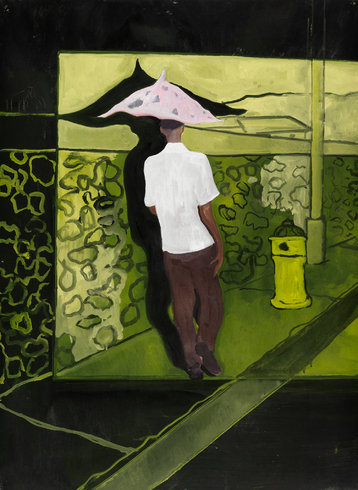 """<p>Peter Doig, Trinidad & Tobago Film Festival Poster, 2008<br /><em>Oil on paper,<span style=""""line-height: 1.5em;"""">76 x 105.5 cm</span><span style=""""line-height: 1.5em;"""">29 7/8 x 41 1/2 in</span></em></p>"""