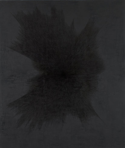 """<p>Idris Khan, On a Clear Day, 2013<br /><em>Black Gesso and oil based ink on aluminium,<span style=""""line-height: 1.5em;"""">200 x 237 cm</span><span style=""""line-height: 1.5em;"""">78 3/4 x 93 1/4 in</span></em></p>"""