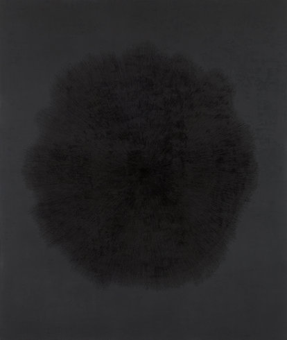 "<p>Idris Khan, Beyond the Black, 2013<br /><em>Black Gesso and oil based ink on aluminium,<span style=""line-height: 1.5em;"">200 x 237 cm</span><span style=""line-height: 1.5em;"">78 3/4 x 93 1/4 in</span></em></p>"