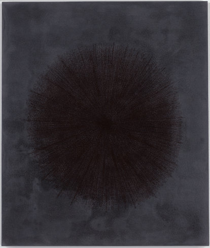 "<p>Idris Khan, Peaceful Stillness, 2013<br /><em>Black Gesso and oil based ink on aluminium, <span style=""line-height: 1.5em;"">71 x 60 cm </span><span style=""line-height: 1.5em;"">28 x 23 5/8 in</span></em></p>"