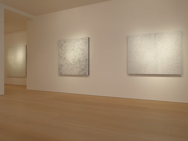 <p>Installation View, Yayoi Kusama,<em>White Infinity Nets</em>, Victoria Miro Mayfair, 14 St George Street, London W1S 1FE, 2013</p>