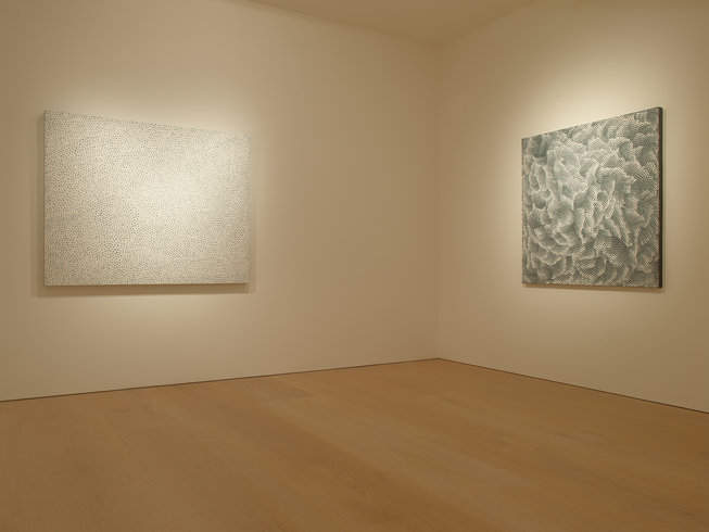 <p>Installation View, Yayoi Kusama,&#160;<em>White Infinity Nets</em>, Victoria Miro Mayfair, 14 St George Street, London W1S 1FE, 2013</p>