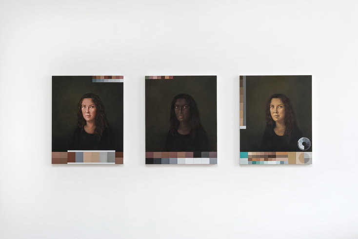 "<p>Adriana Varejão, Polvo Portraits II (Classic Series), 2013<br /><em>Oil on canvas,<span style=""line-height: 1.5em;"">3 parts. Each part 80 x 65 cm</span><span style=""line-height: 1.5em;"">31 1/2 x 25 5/8 in</span></em></p>"