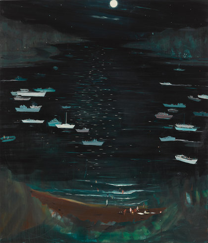 """<p>Refuge Seekers and Skinny Dippers, 2013<br /><em>Oil on panel,<span style=""""line-height: 1.5em;"""">142.2 x 121.9 x 5.1 cm</span><span style=""""line-height: 1.5em;"""">56 x 48 x 2 in</span></em></p>"""