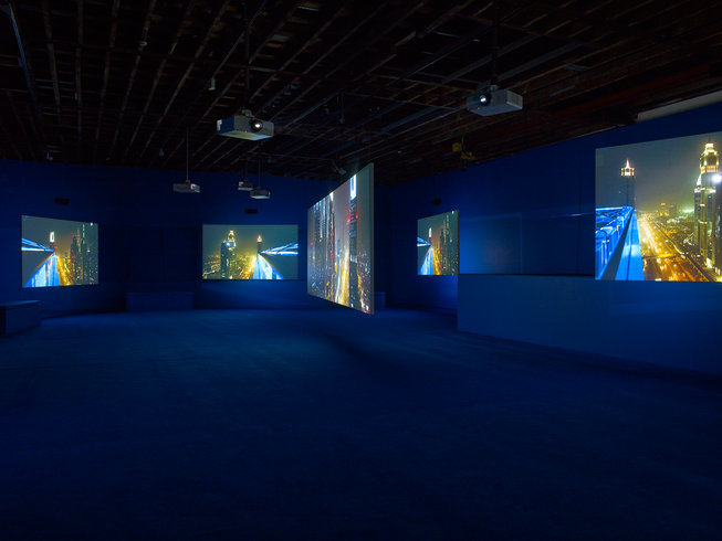 <p>PLAYTIME, 2014<br /><em>Seven-screen HD video installation with 7.1 surround sound, Duration 69 min 47 sec, Installation View Victoria Miro Wharf Road, 2014</em></p>