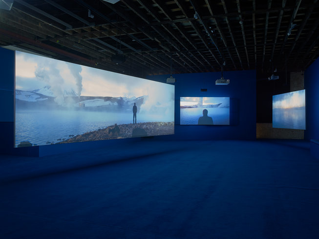 <p>PLAYTIME, 2014</p><p><em>Seven-screen HD video installation with 7.1 surround sound, Duration 69 min 47 sec, Installation View Victoria Miro Wharf Road, 2014</em></p>