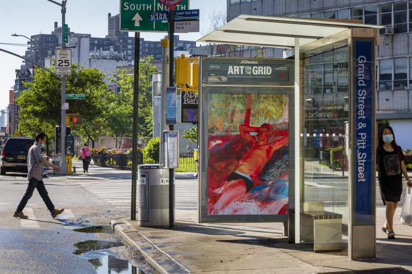 Doron Langberg Joe and Edgar, 2020 Grand St at Pitt St, Manhattan Courtesy the artist  Photo: Nicholas Knight, Courtesy of Public Art Fund, NY. Artwork a part of Art on the Grid, presented by Public Art Fund on 500 JCDecaux bus shelters and 1700 LinkNYC kiosks citywide, June 29, 2020 - September 20, 2020.
