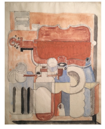 """<span class=""""artist""""><strong>Le Corbusier</strong></span>, <span class=""""title""""><em>Still life with violin and carafes</em>, 1925</span>"""