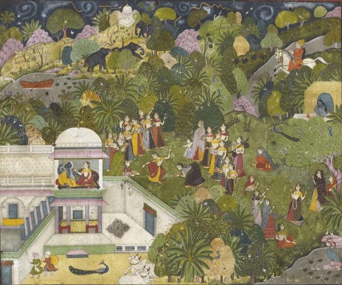 Barahmasa illustration depicting the character and symbolism of the late summer rainy season (Sravana and Bhadon)